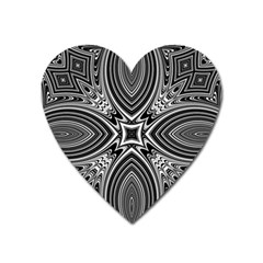 Black And White Intricate Pattern Heart Magnet by SpinnyChairDesigns
