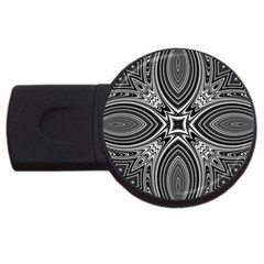 Black And White Intricate Pattern Usb Flash Drive Round (2 Gb) by SpinnyChairDesigns