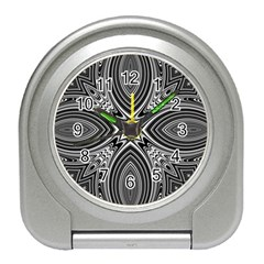 Black And White Intricate Pattern Travel Alarm Clock by SpinnyChairDesigns