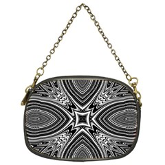 Black And White Intricate Pattern Chain Purse (one Side) by SpinnyChairDesigns