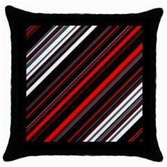 Red Black White Stripes Pattern Throw Pillow Case (black) by SpinnyChairDesigns
