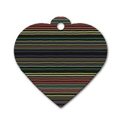 Dark Rust Red And Green Stripes Pattern Dog Tag Heart (one Side) by SpinnyChairDesigns