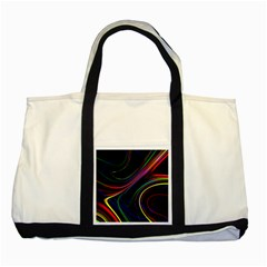 Neon Glow Lines On Black Two Tone Tote Bag by SpinnyChairDesigns