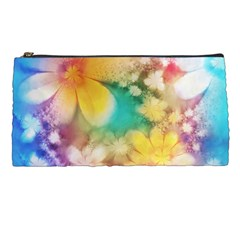 Watercolor Flowers Floral Print Pencil Case by SpinnyChairDesigns
