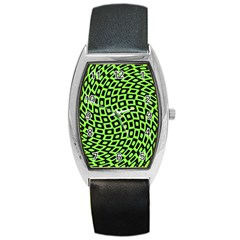 Abstract Black And Green Checkered Pattern Barrel Style Metal Watch
