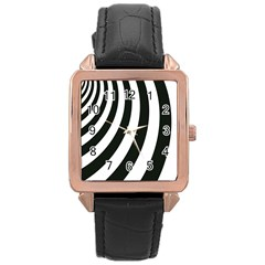 Black And White Zebra Stripes Pattern Rose Gold Leather Watch