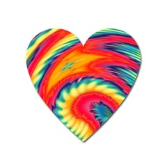 Colorful Dark Tie Dye Pattern Heart Magnet by SpinnyChairDesigns