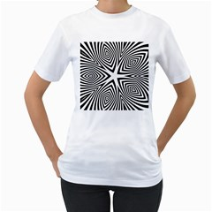 Abstract Zebra Stripes Pattern Women s T-shirt (white)  by SpinnyChairDesigns