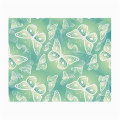 Turquoise Light Green Butterfly Pattern Small Glasses Cloth (2 Sides) by SpinnyChairDesigns