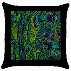 Jungle Print Green Abstract Pattern Throw Pillow Case (black) by SpinnyChairDesigns