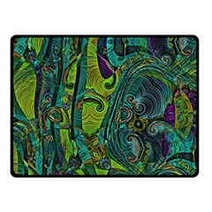 Jungle Print Green Abstract Pattern Fleece Blanket (small) by SpinnyChairDesigns