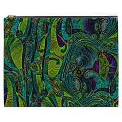 Jungle Print Green Abstract Pattern Cosmetic Bag (xxxl) by SpinnyChairDesigns
