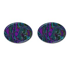 Purple Teal Abstract Jungle Print Pattern Cufflinks (oval)