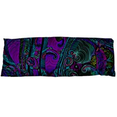 Purple Teal Abstract Jungle Print Pattern Body Pillow Case (dakimakura) by SpinnyChairDesigns