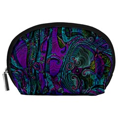 Purple Teal Abstract Jungle Print Pattern Accessory Pouch (large) by SpinnyChairDesigns