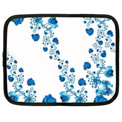 Abstract Blue Flowers On White Netbook Case (large) by SpinnyChairDesigns