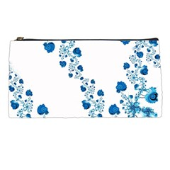 Abstract Blue Flowers On White Pencil Case