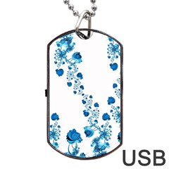Abstract Blue Flowers On White Dog Tag Usb Flash (two Sides)