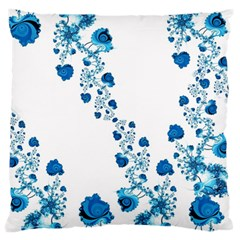 Abstract Blue Flowers On White Large Cushion Case (one Side) by SpinnyChairDesigns