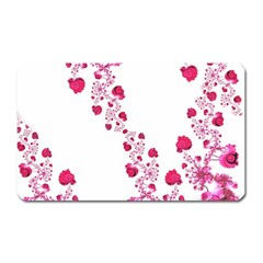 Abstract Pink Roses On White Magnet (rectangular)