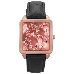 Tea Rose Colored Floral Pattern Rose Gold Leather Watch