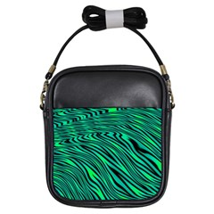 Black And Green Abstract Stripes Pattern Girls Sling Bag by SpinnyChairDesigns