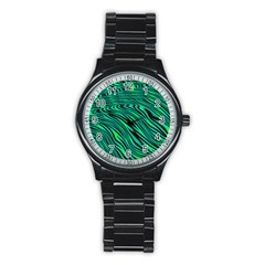 Black And Green Abstract Stripes Pattern Stainless Steel Round Watch by SpinnyChairDesigns