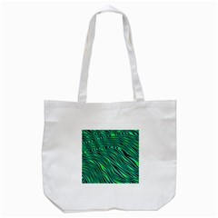 Black And Green Abstract Stripes Pattern Tote Bag (white) by SpinnyChairDesigns