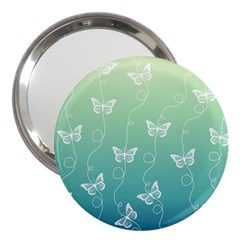 White Butterflies On Blue And Light Green 3  Handbag Mirrors by SpinnyChairDesigns