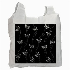 Black And White Butterfly Pattern Recycle Bag (two Side) by SpinnyChairDesigns
