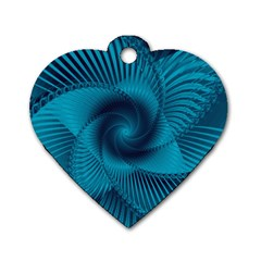 Cerulean Blue Pinwheel Floral Design Dog Tag Heart (two Sides) by SpinnyChairDesigns