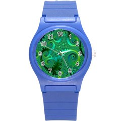 Green Floral Fern Swirls And Spirals Round Plastic Sport Watch (s)