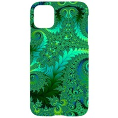 Green Floral Fern Swirls And Spirals Iphone 11 Black Uv Print Case by SpinnyChairDesigns