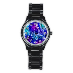 Blue Purple Abstract Stripes Stainless Steel Round Watch by SpinnyChairDesigns