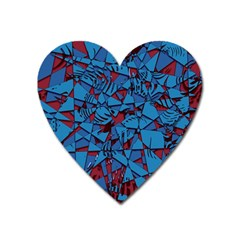 Red Blue Abstract Grunge Pattern Heart Magnet by SpinnyChairDesigns