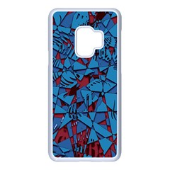 Red Blue Abstract Grunge Pattern Samsung Galaxy S9 Seamless Case(white)