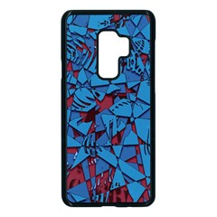 Red Blue Abstract Grunge Pattern Samsung Galaxy S9 Plus Seamless Case(black)