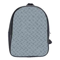 Grey Diamond Plate Metal Texture School Bag (xl) by SpinnyChairDesigns