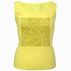 White Abstract Paisley Pattern Women s Yellow Tank Top