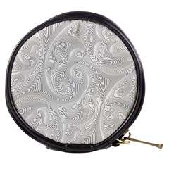 White Abstract Paisley Pattern Mini Makeup Bag by SpinnyChairDesigns