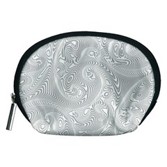 White Abstract Paisley Pattern Accessory Pouch (medium) by SpinnyChairDesigns