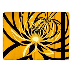 Black Yellow Abstract Floral Pattern Samsung Galaxy Tab Pro 12 2  Flip Case