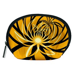 Black Yellow Abstract Floral Pattern Accessory Pouch (medium)