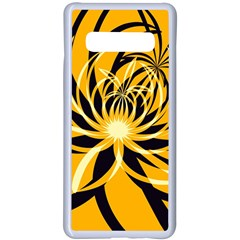 Black Yellow Abstract Floral Pattern Samsung Galaxy S10 Plus Seamless Case(white) by SpinnyChairDesigns