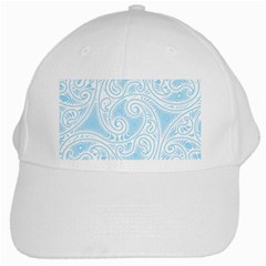 Light Blue And White Abstract Paisley White Cap by SpinnyChairDesigns