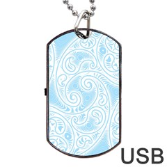 Light Blue And White Abstract Paisley Dog Tag Usb Flash (one Side) by SpinnyChairDesigns