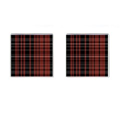 Black And Red Striped Plaid Cufflinks (square) by SpinnyChairDesigns