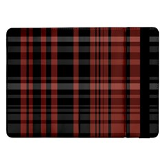 Black And Red Striped Plaid Samsung Galaxy Tab Pro 12 2  Flip Case by SpinnyChairDesigns