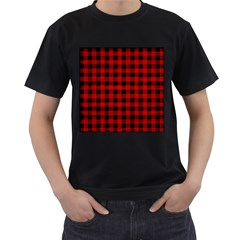 Grunge Red Black Buffalo Plaid Men s T-shirt (black) (two Sided) by SpinnyChairDesigns