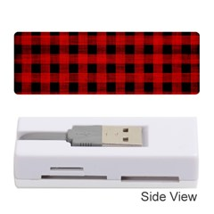Grunge Red Black Buffalo Plaid Memory Card Reader (stick) by SpinnyChairDesigns